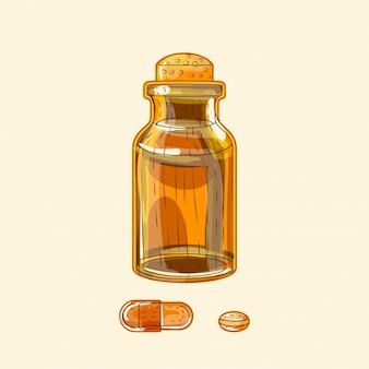 Лекарственная широкая бутылка из коричневого стекла