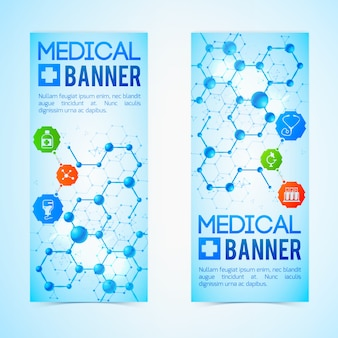 Medicine and aid vertical banners set with healthcare symbols realistic isolated illustration