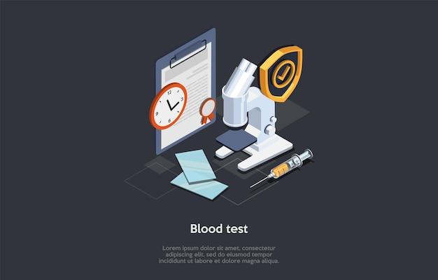 医学と化学分析の概念。実験室で分析しているサンプル。血液検査の結果を編集するための顕微鏡、インジェクター、ブランク