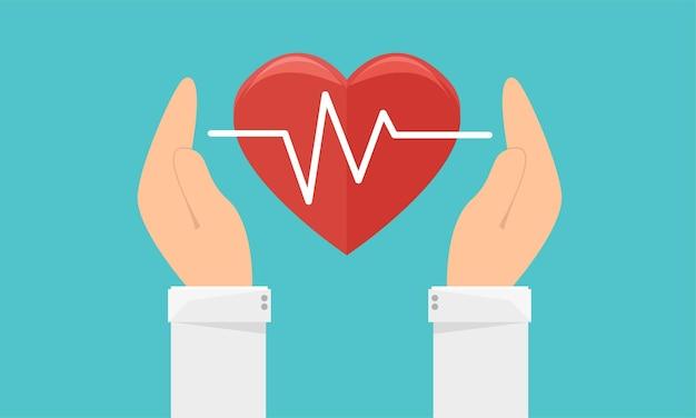 Значок медицины и здравоохранения. руки держат сердце знаком пульса. плоские векторные иллюстрации.
