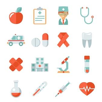 医学とヘルスケアのアイコン。病院と医師、リンゴと歯、フラスコと石膏、心拍と顕微鏡、ベクトル図