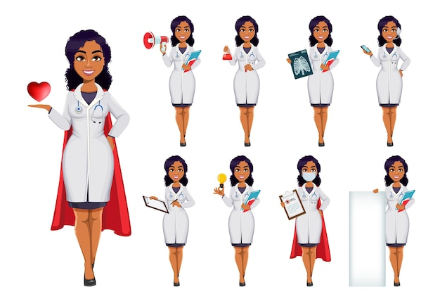 医学とパンデミックの概念白衣を着たアフリカ系アメリカ人の女性医師