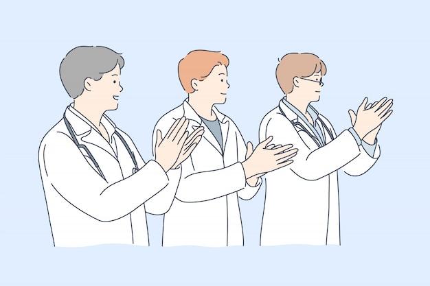 의학, 박수, 팀, 축하, 성공 개념