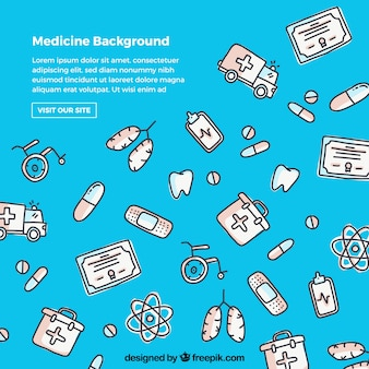 Medicine background in hand drawn style