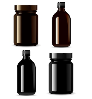 Medicine bottle mockup, black cosmetic packaging