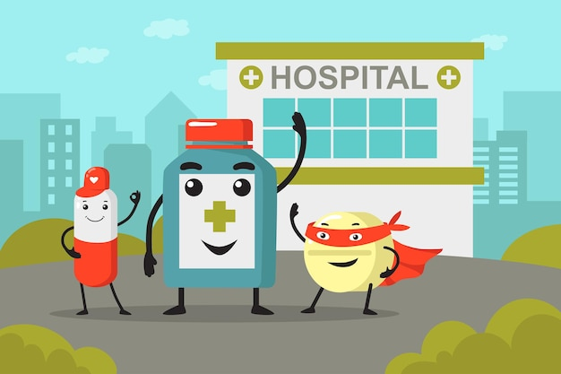Medicine bottle and pill cartoon characters in front of hospital