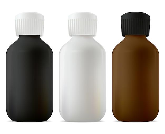Флакон с лекарством, завинчивающаяся крышка. медицинская банка для сиропа черная, белая и коричневая заготовка. флакон с лекарственной суспензией, средство от кашля. аптечная настойка или емкость с эфирным маслом