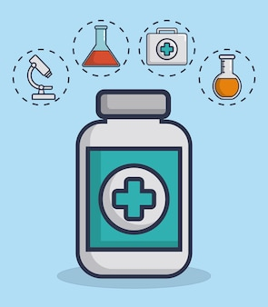 Medicine bottle with medical equipment related icons