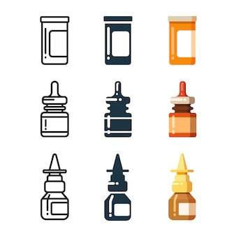 Medicine bottles and box for pills line