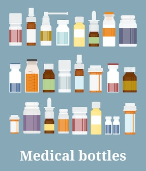 Коллекция бутылочек с лекарствами. флаконы с лекарствами, таблетки, капсулы и спреи. векторная иллюстрация