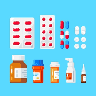 Набор бутылочек, пилюль и таблеток медицины. флаконы с лекарствами, таблетки, капсулы и спреи. лекарства, концепция фармацевтики.