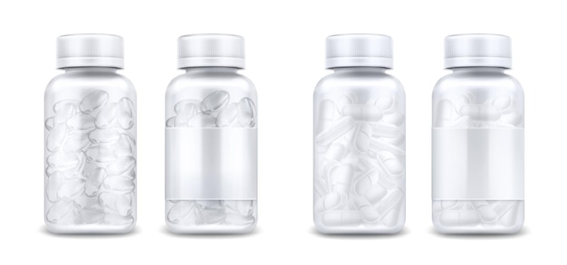 Medicine bottles with pills and clear capsules isolated on white background. vector realistic mockup of glass or plastic transparent container with blank label and lid. 3d jars with medical drugs