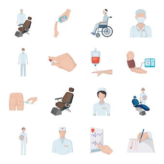 Medicine  cartoon set icon.  medical . isolated cartoon set icon medicine.