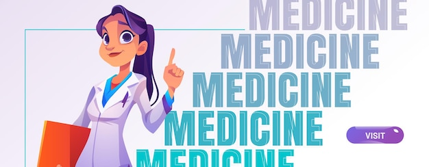 의료 상담을 위해 폴더 초대와 흰 가운에 여성 의사와 의학 만화 스타일 배너
