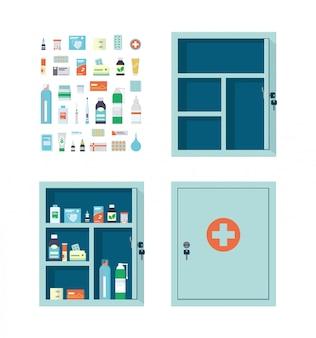 Аптечка, полная лекарств, таблеток и бутылочек. пустой металлический открытый и закрытый медицинский кабинет.