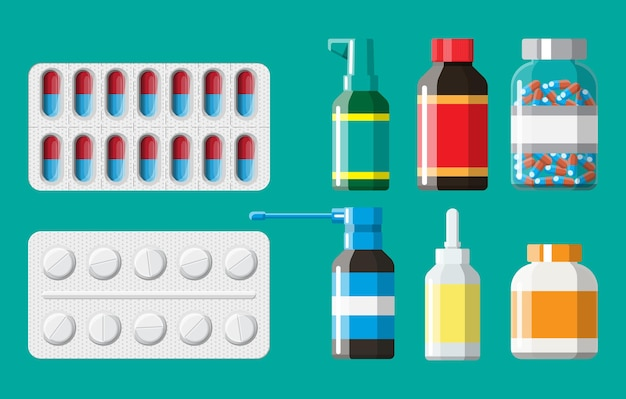 Medicine collection. set of bottles, tablets, pills, capsules and sprays for illness and pain treatment. medical drug, vitamin, antibiotic. healthcare and pharmacy. vector illustration in flat style
