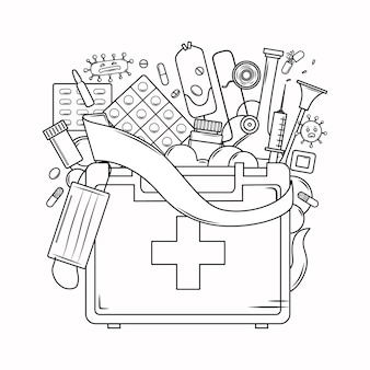 Medicine coloring book for adults first aid kit mask bandage syringe virus in the outline style