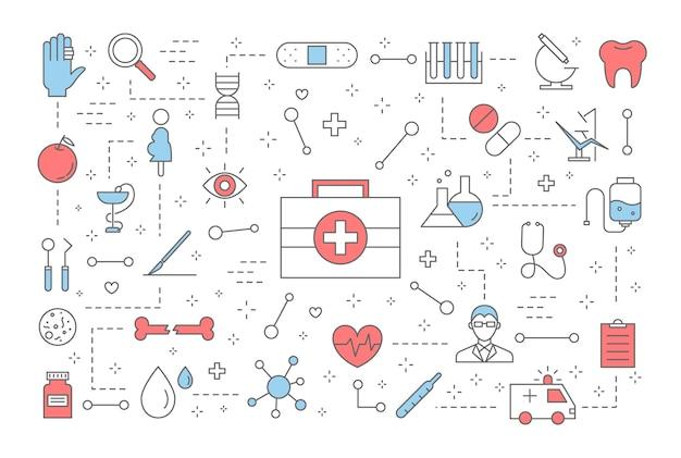 의학 개념. 치료 및 건강 관리에 대한 아이디어. 다이어트, 스포츠, 휴식 및 검진. 의료 아이콘의 집합입니다. 삽화