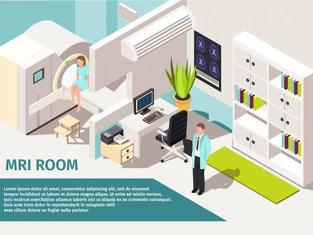 Medicine concept mri scan and diagnostics patient lying scanner machine in clinic.