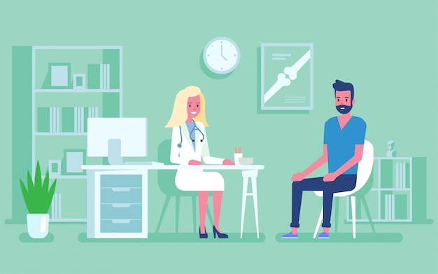 Medicine concept with a doctor and patient in hospital medical office. consultation and diagnosis