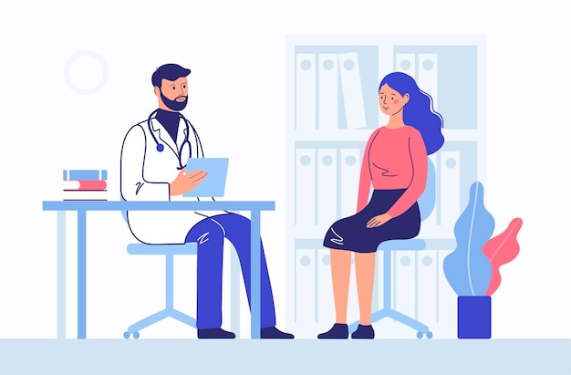 Medicine concept with doctor and woman patient. consultation and diagnostics.