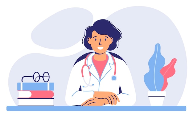 Medicine concept with doctor a young female doctor sits at a table in a hospital medical office