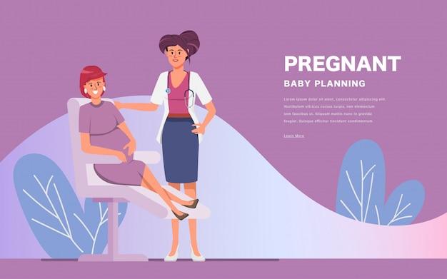 Концепция медицины с практикующим врачом женщина и молодой беременной девушки пациента в больнице медицинский офис.