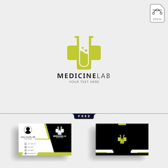 Medicine cross laboratory logo template with business card