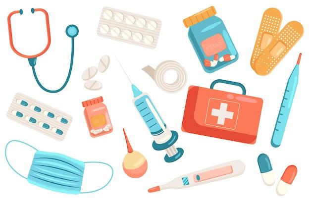 Набор милых элементов медицины