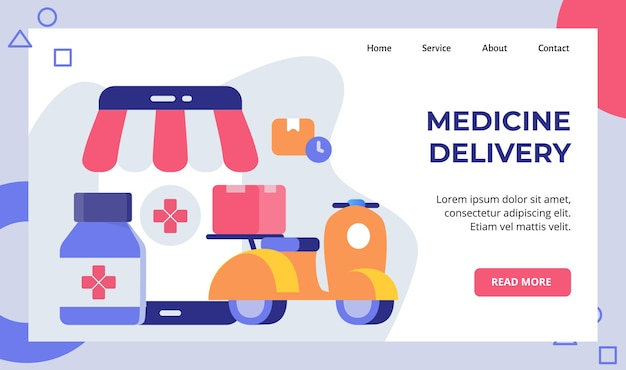 ウェブサイトのホームホームページのランディングページのための薬の配達スクーターバイクキャリー薬局ボックスキャンペーン