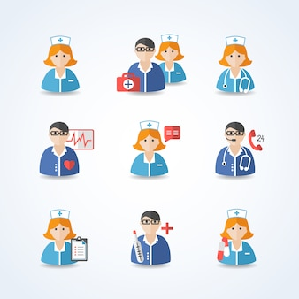 Medicine doctors and nurses avatar set