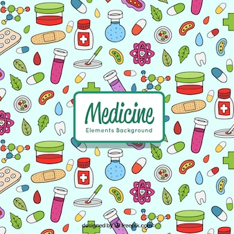 Medicine elements background in hand drawn style