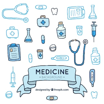 Stile disegnato degli elementi della medicina fondo a disposizione