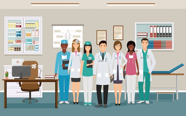 Medicine employee characters waiting fo patients in clinic. women and men doctors and nurses in uniform.