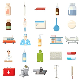 Medicine equipment icons set in cartoon style