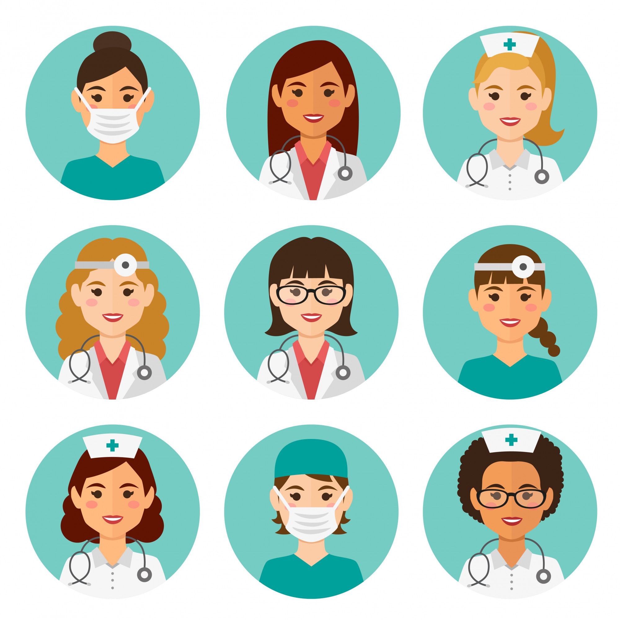 Medicine flat female avatars set with doctors and nurses