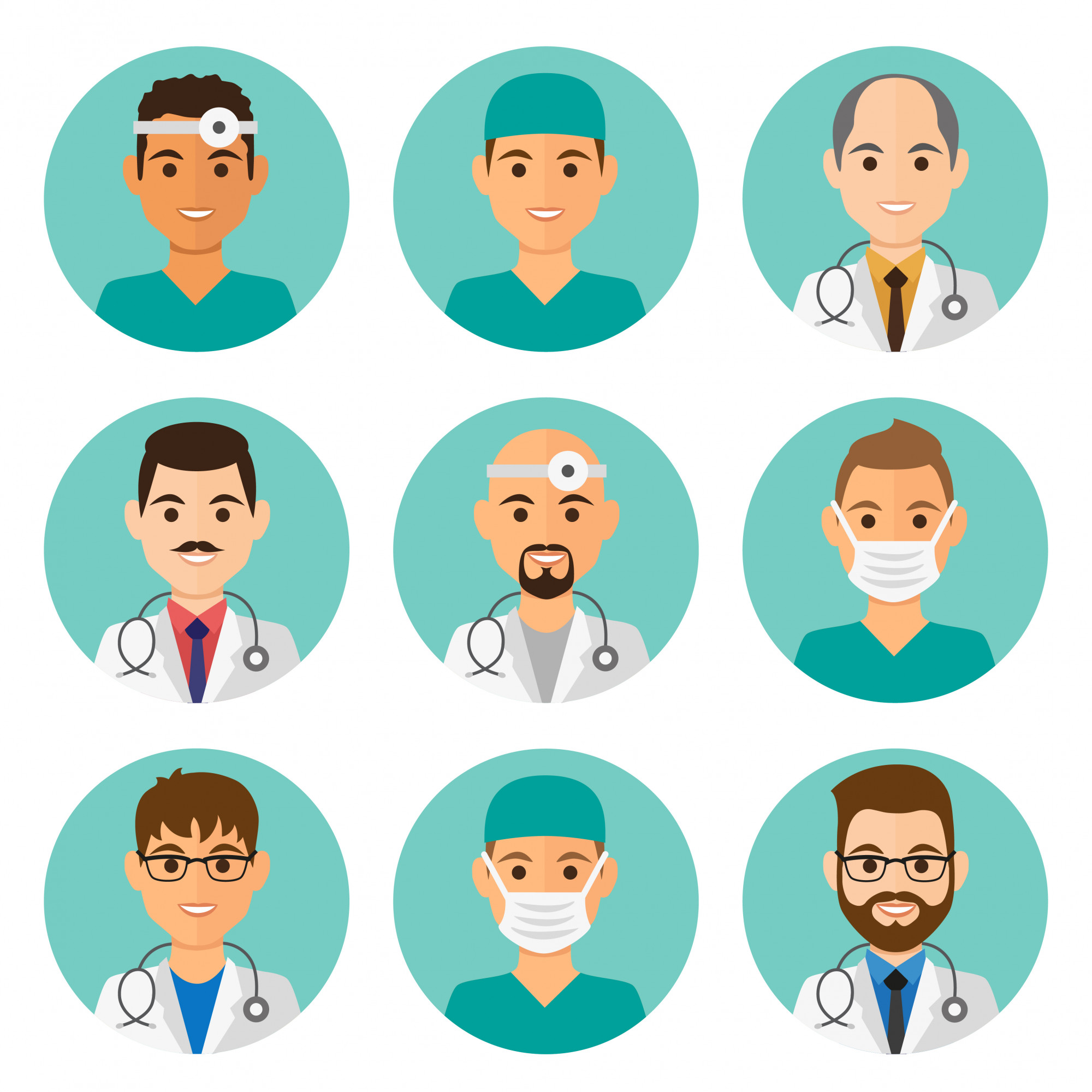 Medicine flat male avatars set with doctors and nurses