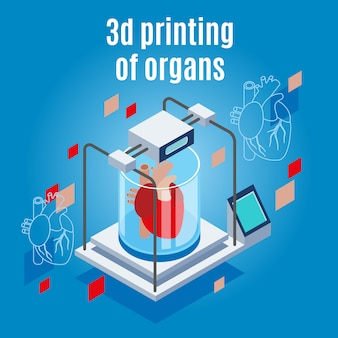 Medicine of the future isometric background composition with realistic 3d printer and human heart