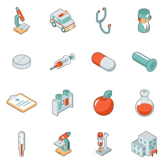Icone 3d isometriche di medicina e sanità. insieme medico di simbolo, ospedale e emergenza, illustrazione vettoriale