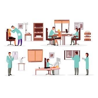 Medicine and healthcare workers flat illustrations set.