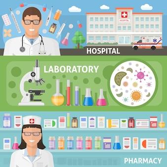 Le insegne piane orizzontali della medicina messe con medico ospedaliero e la farmacia del laboratorio dell'attrezzatura professionale hanno isolato l'illustrazione di vettore