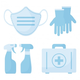 Medicine icon. disinfection spray, medical mask, first aid kit, surgical gloves. illustration
