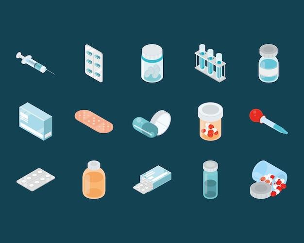 Medicine icons isometric