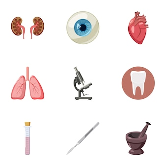 Medicine icons set, cartoon style