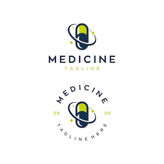 Medicine illustration logo design template