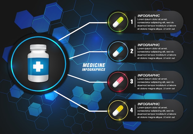 Medicine info graphic in modern design with blue shape