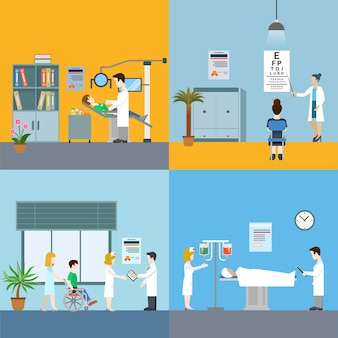 Инфографические элементы медицины с медицинским персоналом и пациентами, лечение и обследование плоской концепции иллюстрации на синем и желтом фоне специалисты больницы.