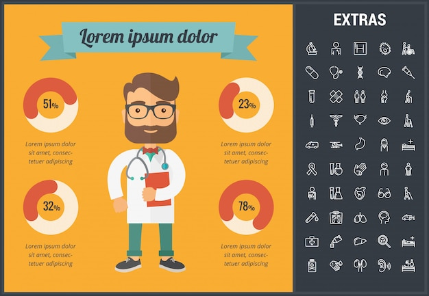 Medicine infographic template, elements and icons.