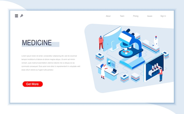 Medicine isometric landing page template.