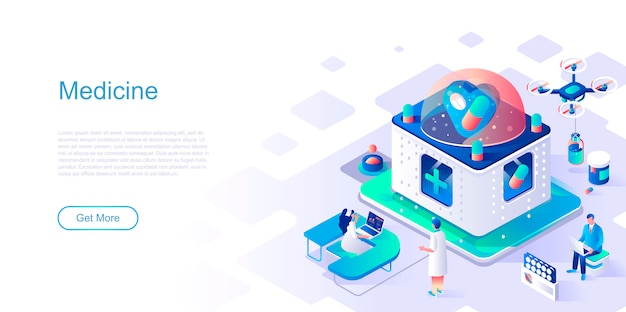 Medicine isometric landing page vector template.